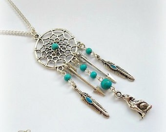 Wolf Dreamcatcher Necklace, Dream Catcher Necklace, Wolf Necklace, Turquoise Feather Necklace, Tribal Jewellery, Totem Animal, Bohemian