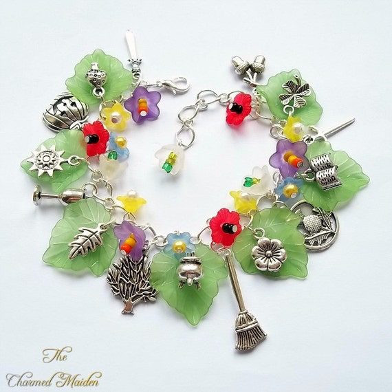 Garden Charms: Witches Garden Charm Bracelet Wiccan Charm By TheCharmedMaiden