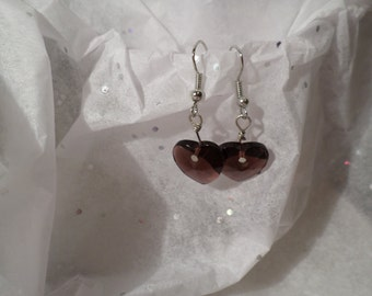 Earrings - purple heart drop earring