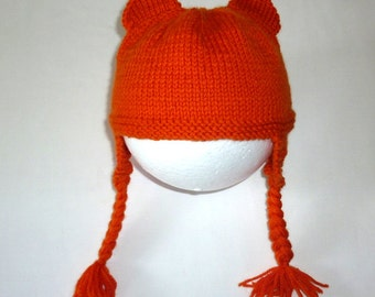 Orange baby hat. Baby beanie hat. Baby hat with ears. Knitted Beanie. 6-12 month old. Baby Girl. Baby boy. Knit baby. Baby gift. Pixie hat.
