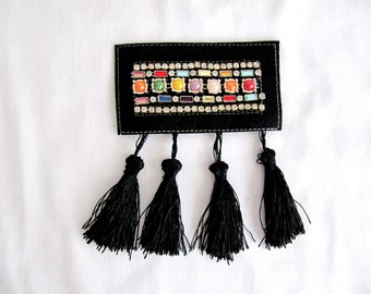 2Pcs.Tassel Gela Epaulet,Tassel Shoulder Pads,Beaded Shoulder Epaulet,Tassel Epaulet,Rhinestone epaulet,Handmade Epaulet,Black Epaulet