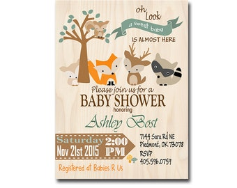 shower invitations woodland animals, printable invitations woodland set,