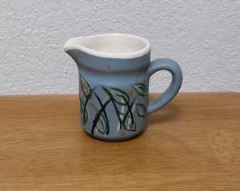 Ceramic Pitcher(#126B) - Glazed inside and stained Country blue outside