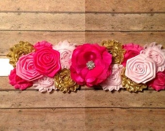 It's a girl pink and gold maternity sash. Maternity belt. Baby belt. Baby sash. Maternity photo prop.