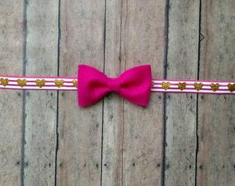 Pink or white felt bow on stripe elastic band with gold glitter hearts for baby, toddler and adult