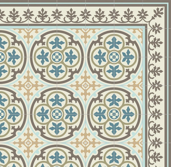 Pvc Vinyl Mat Tiles Pattern Decorative Linoleum Rug Blue And