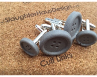 Small Button Cufflinks Concrete Silver Plated