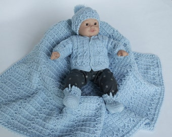 Blue Sweater Set, Crochet Baby Boy Sweater Set, Optional Blanket, Newborn Sweater Set, Blue Baby Hat & Booties, Baby Boy Coming Home Outfit