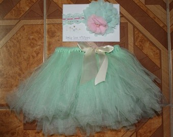 Adorable Teal Baby/Toddler Tutu with Matching Headband - Teal baby/toddler tutu, matching flower headband - Infant Photo Prop