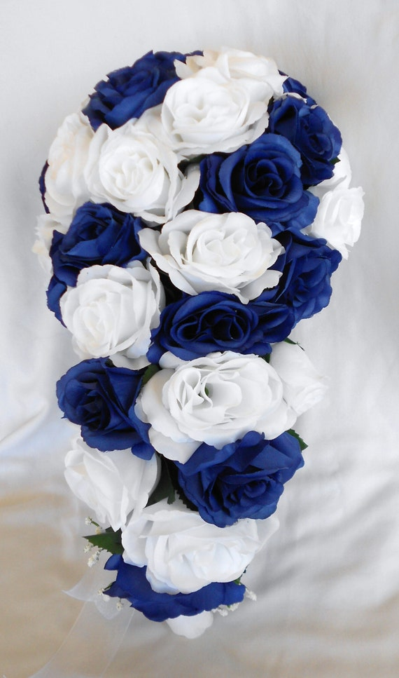 Silk Cascade wedding bridal bouquet set Royal blue and white 17 pices