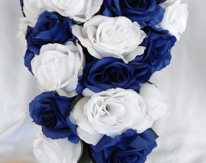 Silk Cascade wedding bridal bouquet set Royal blue and white 17 pices