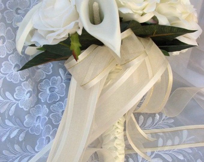 Ivory  and white bridal bouquet roses and callas lilies round nosegay style 2 pieces