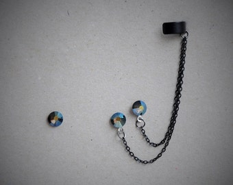 Two holes Crystal Ear cuff Earring, Trending crystal cuff earring, Chain Crystal Ear Cuff Earring