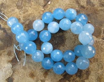 Aqua blue chalcedony jade beads. 14mm blue faceted round beads. Gemstone beads