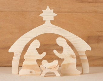 Christmas Holiday Home Decor - Wooden Nativity Set -  Wood Nativity Scene