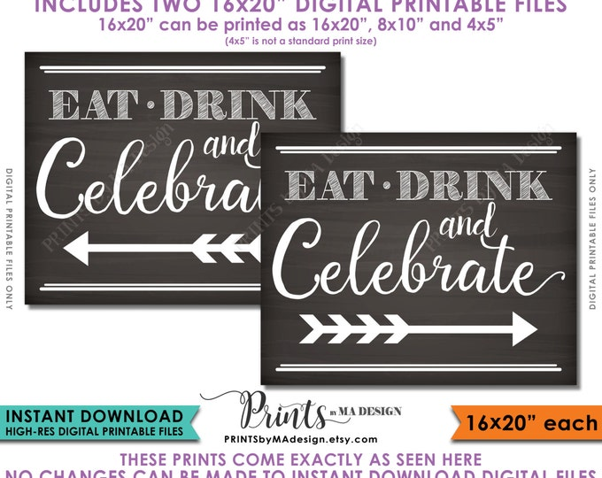Direction Signs, Eat Drink and Celebrate, Arrow points to Party, Celebration Directions Guide, Instant Download Digital Printable Files