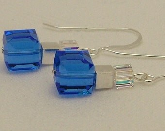 Swarovski Sapphire/Crystal AB cube drop earrings