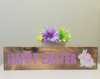 Happy Easter Sign - Easter Bunny - Easyer Decor - Rustic Decor