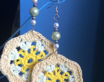 Crochet beaded earrings