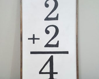 Math Flashcard Sign, Flashcard Sign, Family Wall Art, Vintage Flashcard Sign
