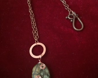 Wire-wrapped Stone Copper Pendant Necklace