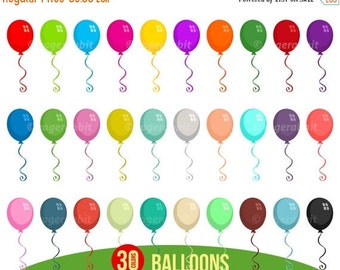 80% OFF 30 Balloons, Vector Illustrations, Cliparts, Party Decorations, Cartoon, Design Elements, Scrapbooking, Balloon Clip Art, Birthday