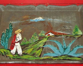 Mexican Tin Serving Tray Mid Century Hand Painted Beautiful Metal Tray Mexican Folk Art