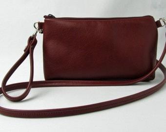 burgundy leather cross body bag, leather cross body