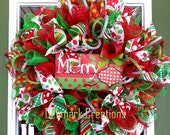 Christmas wreath, Red and Green Christmas wreath, Front door wreath, Mesh wreath