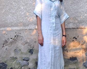 Light blue dress/Long Linen 100% dress/Maxi dress/Long shirt/Long summer dress/Handmade blue shirt/Woman linen dress/Linen Kaftan/D1499