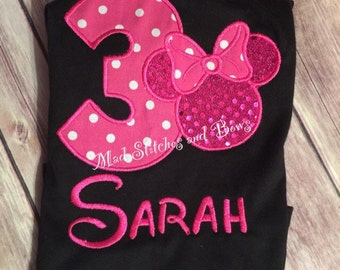 Custom embroidered mini mouse birthday shirt