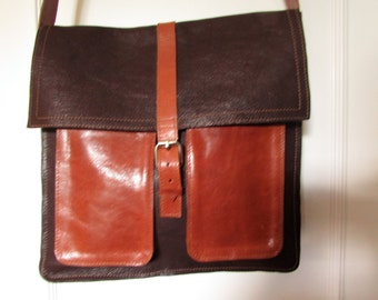 Brown and black leather cross body bag