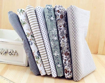 Grey Collection Fabric Gray Bundle Fabric Flowers Cotton Fabric Sets for 7 each for Quilting Cloth Bag 50X50cm bf15