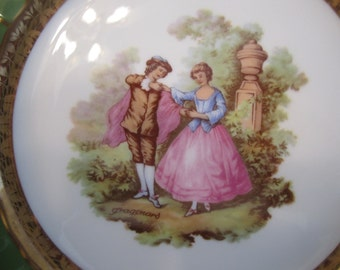 "Antique Limoges France Fragonard ""Courting Couples"" Fine Porcelain Plate from the 1940's Romantic Renaissance Era"