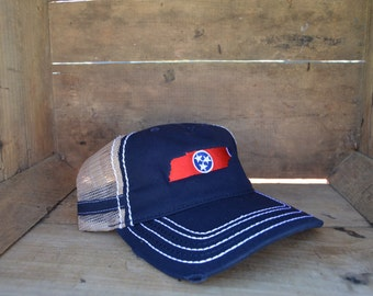 State of Tennessee Flag Heavy Washed Trucker Hat