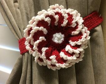 Crochet Curtian Tieback - 1 pair / Red flower