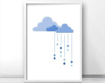 Printable nursery art, Cloud nursery wall art,  Baby room art, Kids room art print, Blue clouds and raindrops baby print, Blue nursery print