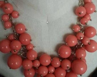 Beaded salmon orange cluster necklace