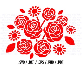 Flower Bouquet, Engagement Clipart, Newly Wed Wall Art, First Love SVG File Vinyl Cutter, Screen Printing, SilhouetteDie Cut Machine - CA228