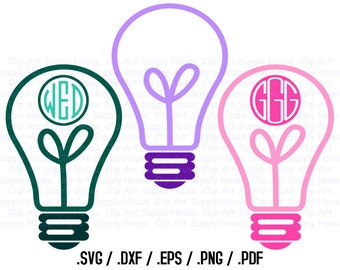 Lightbulb Monogram Frame Design Files, Light Bulb Clipart, Silhouette Software, DXF Files, SVG Font, EPS File, Svg Font, Silhouette - CA276