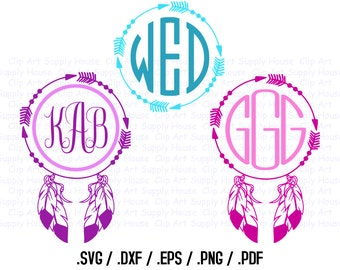 Tribal Feather Circle Monogram Frame Design Files, Use With Silhouette Software, DXF Files, SVG Font, EPS File, Svg Font, Silhouette - CA308