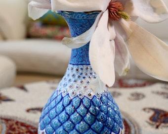 Blue Handcrafted Enamel/Mina Vase