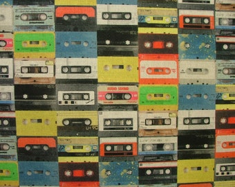 Mini Prints 100% Cotton Fabric - Multi Use Curtain Blinds Quilting Craft - 1980's Retro Cassette Tape
