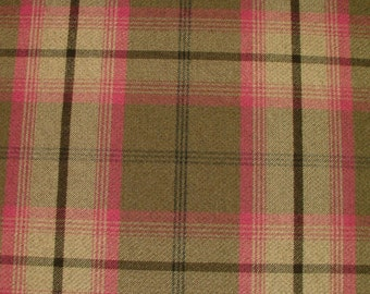Balmoral Fuschia Pink Wool Effect Washable Thick Tartan Plaid Upholstery & Curtain Designer Fabric
