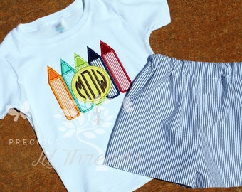 Boys Graduation Shirt- Back To School Shirt- Preschool Shirt- Pencils monogram shirt- First Day of School- 12m, 18m, 2t, 3t, 4t, 5t, 6