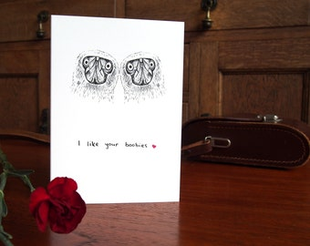 SALE * I Like Your Boobies Card // Valentine's Card // Anniversary Card // Love Card // Funny Card // For Her Girlfriend Wife