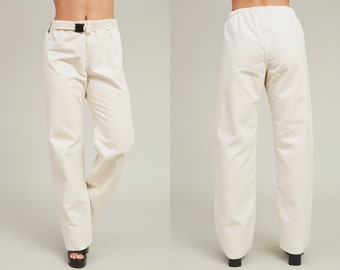 90s One Wear Thick Cream White Cotton Canvas Work Pants • L
