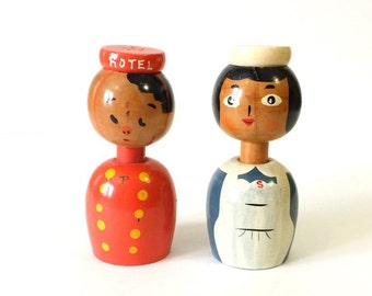 Vintage Wooden Salt n Pepper Shakers