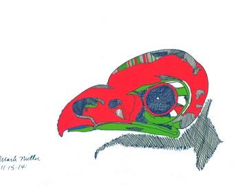 Owl Skull in color, print, Chiselwit shop