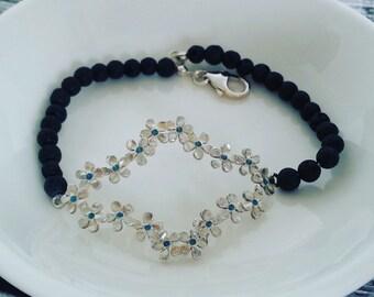 Multy flowers lozenge frame 925 sterling silver bracelet silver jewelry sterling handmade